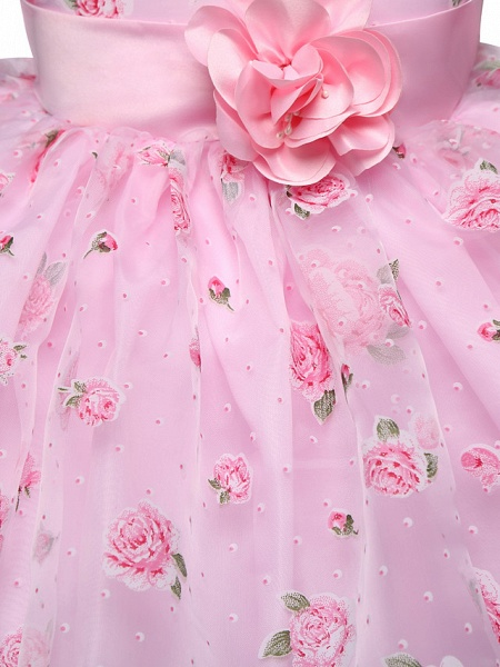Princess Midi Wedding / Party Satin / Tulle Sleeveless Jewel Neck With Bow(S) / Tier / Pattern / Print_5