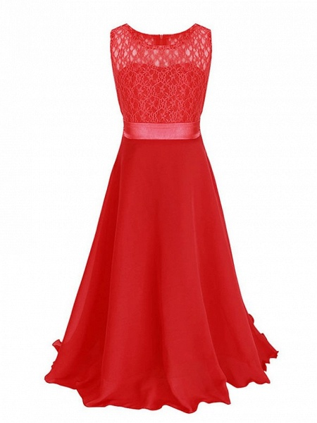 Princess / Ball Gown Maxi Party / Formal Evening / Pageant Flower Girl Dresses - Tulle / Poly&Cotton Blend Sleeveless Jewel Neck With Lace / Solid_21