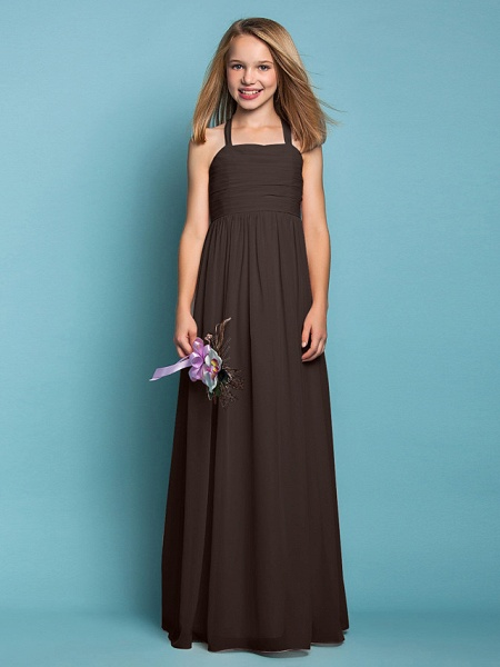 Sheath / Column Halter Neck Floor Length Chiffon Junior Bridesmaid Dress With Ruched / Spring / Summer / Fall / Apple / Hourglass_24