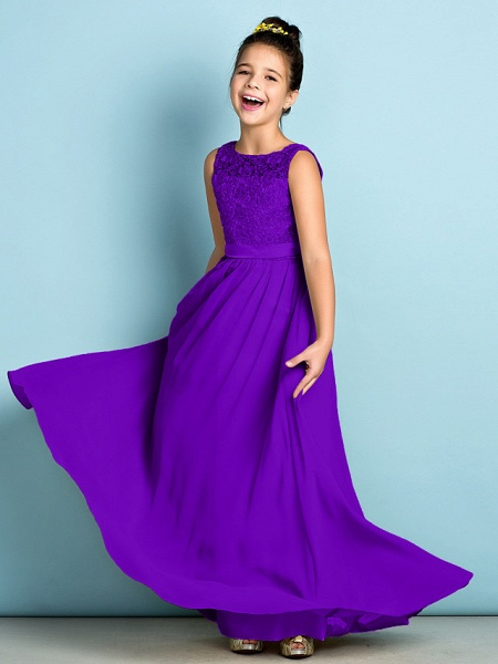 A-Line Scoop Neck Floor Length Chiffon / Lace Junior Bridesmaid Dress With Lace / Natural / Mini Me_38