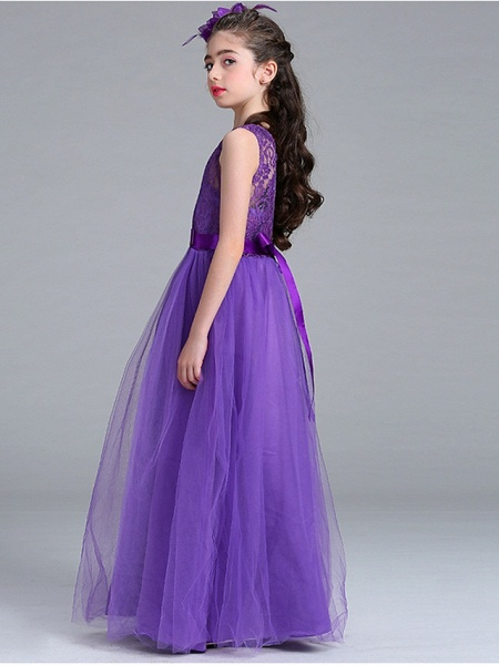 Princess / A-Line Round Floor Length Lace / Tulle Junior Bridesmaid Dress With Bow(S)_9