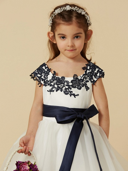 A-Line Knee Length Pageant Flower Girl Dresses - Lace / Tulle Short Sleeve Scoop Neck With Sash / Ribbon / Bow(S) / Buttons_5