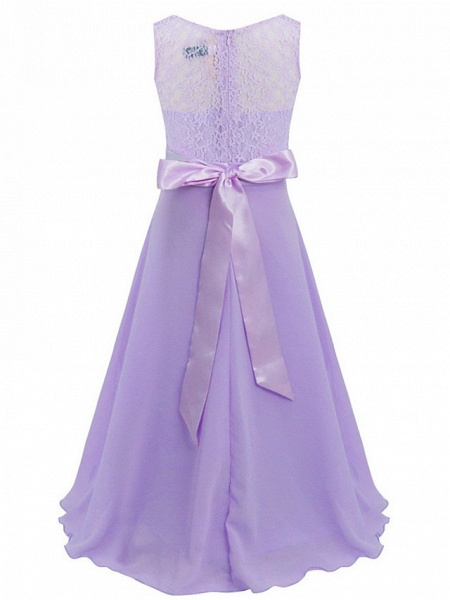 Princess / Ball Gown Maxi Party / Formal Evening / Pageant Flower Girl Dresses - Tulle / Poly&Cotton Blend Sleeveless Jewel Neck With Lace / Solid_10
