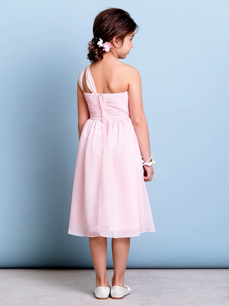 A-Line One Shoulder Knee Length Chiffon Junior Bridesmaid Dress With Ruched / Draping / Side Draping / Natural_4