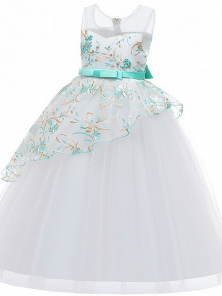 Princess / Ball Gown Floor Length Wedding / Party Flower Girl Dresses - Tulle Sleeveless Illusion Neck With Sash / Ribbon / Bow(S) / Embroidery_9
