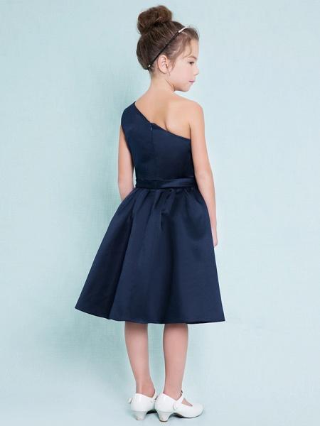 A-Line One Shoulder Knee Length Satin Junior Bridesmaid Dress With Sash / Ribbon / Pleats / Natural_5