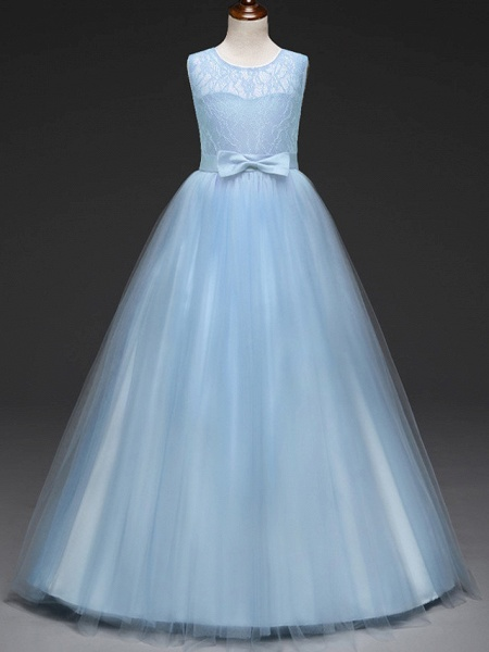 Ball Gown Floor Length Wedding / Party Flower Girl Dresses - Tulle Sleeveless Jewel Neck With Bow(S) / Solid_2