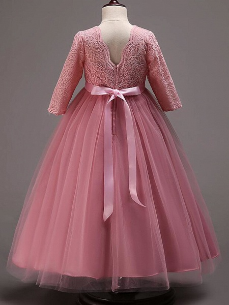 Princess Floor Length Wedding / Party / Pageant Flower Girl Dresses - Lace / Tulle / Cotton Half Sleeve Jewel Neck With Lace / Belt_14