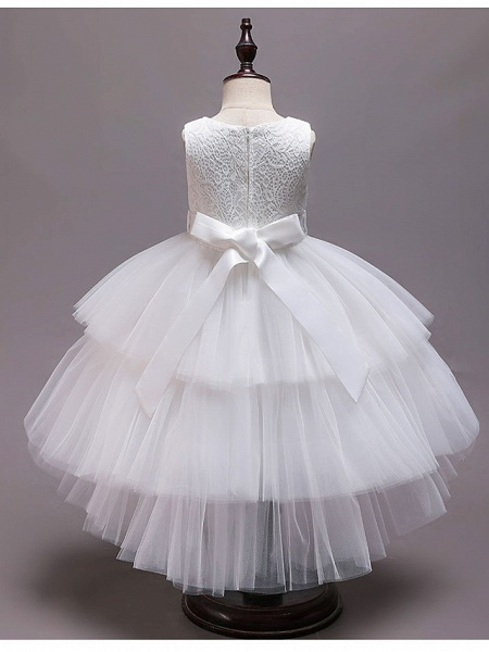 Princess Asymmetrical Wedding / Party / Pageant Flower Girl Dresses - Satin / Tulle Sleeveless Jewel Neck With Belt / Crystals / Rhinestones_10
