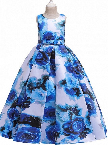 A-Line Round Floor Length Cotton Junior Bridesmaid Dress With Bow(S) / Pattern / Print / Ruching_3