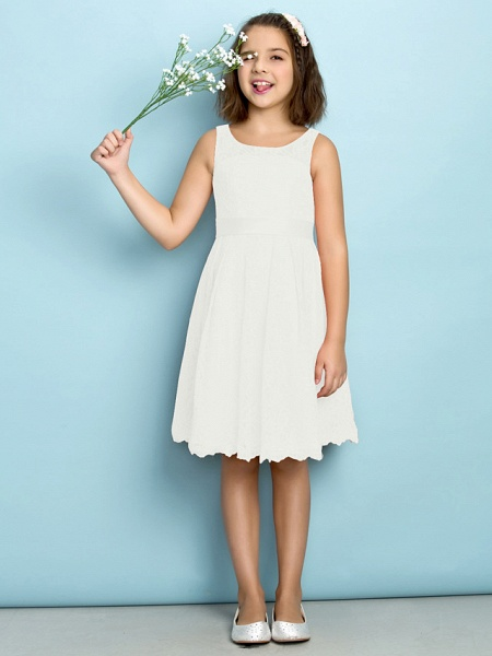 A-Line Scoop Neck Knee Length All Over Floral Lace Junior Bridesmaid Dress With Lace / Natural / Mini Me_19