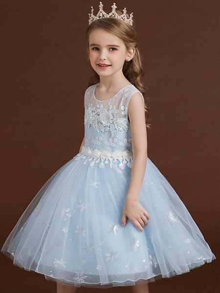 Princess / Ball Gown Knee Length Wedding / Party Flower Girl Dresses - Lace / Tulle Sleeveless Jewel Neck With Bow(S) / Appliques_3