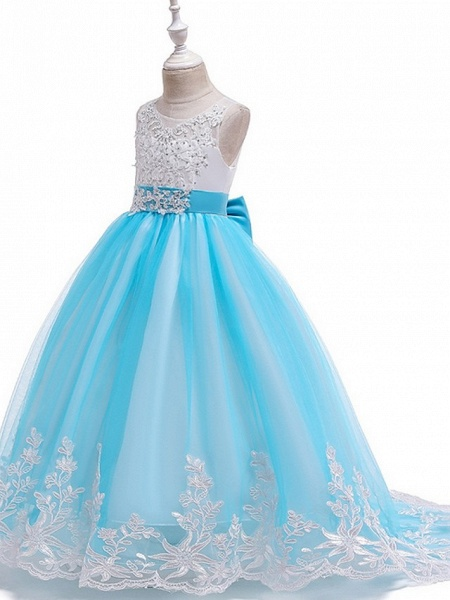 Princess / Ball Gown Court Train Wedding / Party Flower Girl Dresses - Tulle Sleeveless Jewel Neck With Bow(S) / Beading / Appliques_10