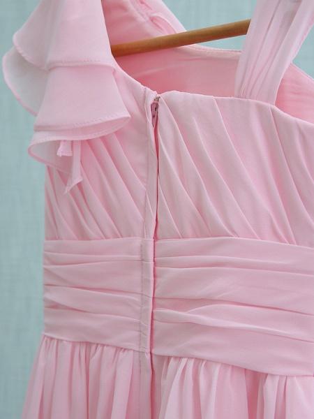 Sheath / Column Straps Knee Length Chiffon Junior Bridesmaid Dress With Ruffles / Side Draping / Natural_6