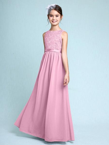 Sheath / Column Bateau Neck Floor Length Chiffon / Lace Junior Bridesmaid Dress With Lace / Natural_12