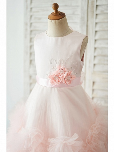 Princess / Ball Gown Floor Length Wedding / Birthday Flower Girl Dresses - Tulle Sleeveless Jewel Neck With Sash / Ribbon / Bow(S) / Flower_3