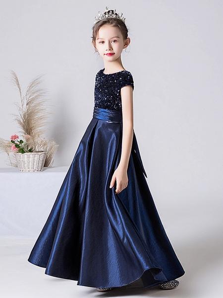 Sheath / Column Floor Length Event / Party / Birthday Flower Girl Dresses - Satin / Sequined Cap Sleeve Jewel Neck With Pleats_3