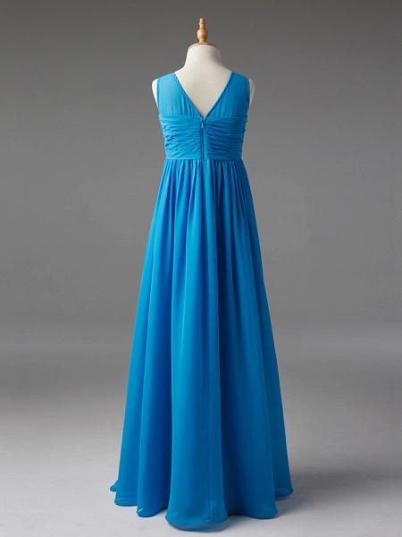 Princess / A-Line Jewel Neck Floor Length Chiffon Junior Bridesmaid Dress With Sash / Ribbon / Pleats_2