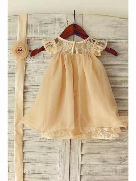 A-Line Tea Length Holiday Flower Girl Dresses - Chiffon / Lace Sleeveless Jewel Neck With Lace / Pleats_6