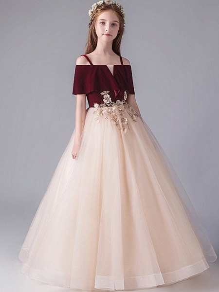 A-Line Floor Length Party / Pageant Flower Girl Dresses - Polyester Short Sleeve Spaghetti Strap With Appliques_3