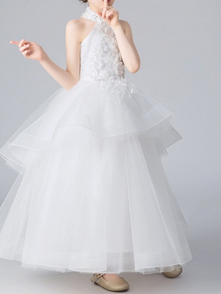 Ball Gown Floor Length Pageant Flower Girl Dresses - Polyester Sleeveless Halter Neck With Appliques_4