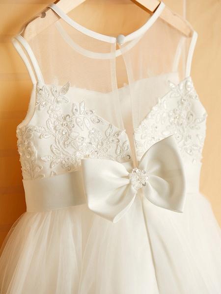 Princess Tea Length Wedding / Birthday / Pageant Flower Girl Dresses - Satin / Tulle Sleeveless Jewel Neck With Bows / Belt / Beading_6