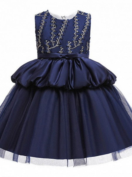 Ball Gown Ankle Length Pageant Flower Girl Dresses - Polyester Sleeveless Jewel Neck With Beading / Appliques_3