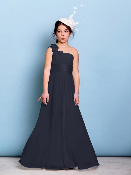 A-Line One Shoulder Floor Length Chiffon Junior Bridesmaid Dress With Sash / Ribbon / Criss Cross / Ruched / Natural_35