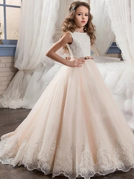 Ball Gown Floor Length Wedding / Party Flower Girl Dresses - Tulle Sleeveless Jewel Neck With Ruching_1