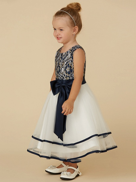 A-Line Tea Length Pageant Flower Girl Dresses - Lace / Tulle Sleeveless Scoop Neck With Sash / Ribbon / Bow(S)_3