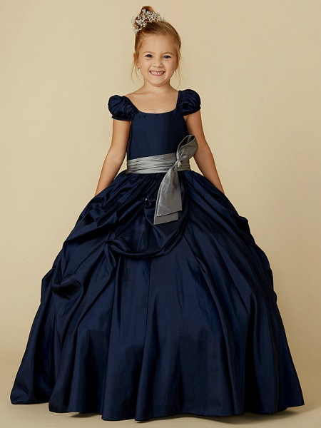 Ball Gown Floor Length Pageant Flower Girl Dresses - Taffeta Short Sleeve Scoop Neck With Belt / Bow(S)_5