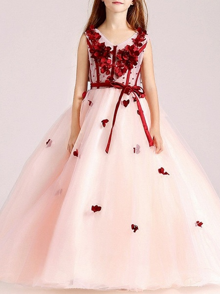 Ball Gown Floor Length Pageant Flower Girl Dresses - Polyester Sleeveless V Neck With Sash / Ribbon / Beading / Appliques_1