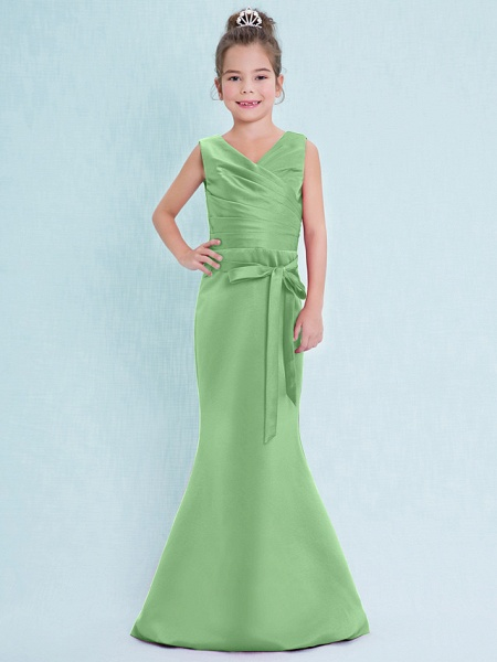 Mermaid / Trumpet V Neck Floor Length Satin Junior Bridesmaid Dress With Criss Cross / Natural_30