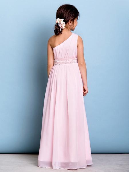 A-Line One Shoulder Floor Length Chiffon Junior Bridesmaid Dress With Sash / Ribbon / Beading / Side Draping / Natural_6