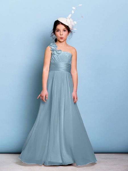 A-Line One Shoulder Floor Length Chiffon Junior Bridesmaid Dress With Sash / Ribbon / Criss Cross / Ruched / Natural_30