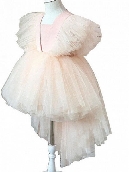 Princess / Ball Gown Knee Length Wedding / Party Flower Girl Dresses - Tulle Short Sleeve / Sleeveless V Neck With Tier / Appliques_4