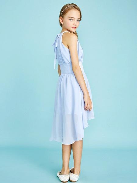 Sheath / Column Jewel Neck Asymmetrical Chiffon Junior Bridesmaid Dress With Sequin / Natural_2