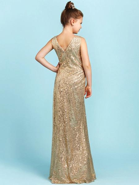 Princess / A-Line V Neck Floor Length Sequined Junior Bridesmaid Dress With Pleats / Sequin_2