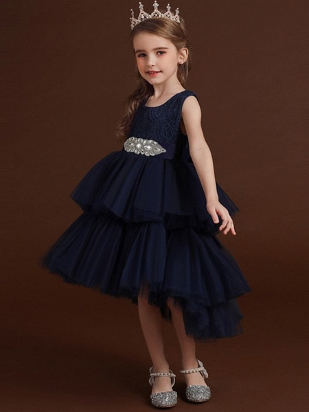 Princess / Ball Gown Asymmetrical Wedding / Party Flower Girl Dresses - Lace / Tulle Sleeveless Jewel Neck With Belt / Bow(S) / Tier_2