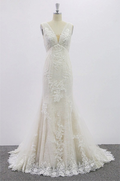 SD1957 V-neck Floral Appliques Backless Wedding Dress