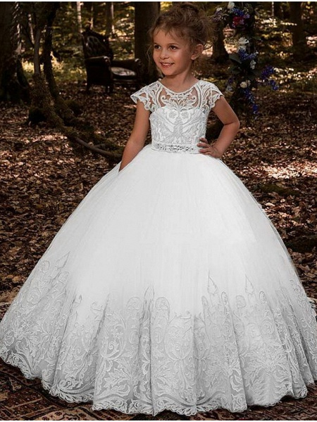 Ball Gown Floor Length Wedding / Party Flower Girl Dresses - Lace / Tulle Sleeveless Jewel Neck With Pleats / Solid_1