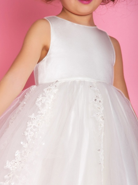 Princess / A-Line Tea Length Wedding / First Communion Flower Girl Dresses - Satin / Tulle Sleeveless Jewel Neck With Beading / Appliques / Spring / Summer / Fall / Winter_6
