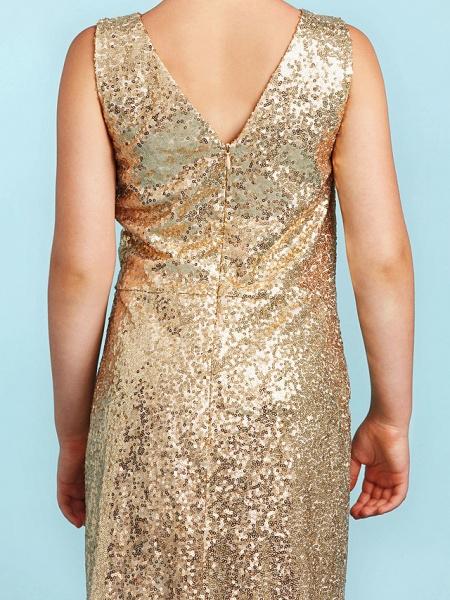 Princess / A-Line V Neck Floor Length Sequined Junior Bridesmaid Dress With Pleats / Sequin_8