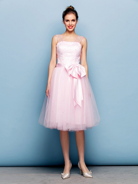 Ball Gown Mini Me Cocktail Party Dress Straps Sleeveless Knee Length Tulle With Sash / Ribbon Bow(S) Beading_4