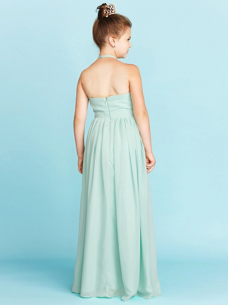 Princess / A-Line Halter Neck Floor Length Chiffon Junior Bridesmaid Dress With Sash / Ribbon / Pleats / Wedding Party / Open Back_2