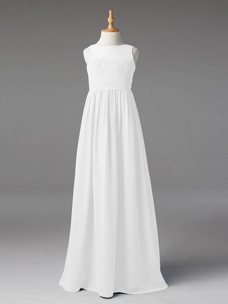 Princess / A-Line Jewel Neck Floor Length Chiffon Junior Bridesmaid Dress With Sash / Ribbon / Pleats_45