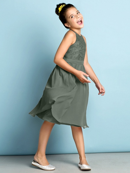 A-Line Jewel Neck Knee Length Chiffon / Lace Junior Bridesmaid Dress With Lace / Natural / Mini Me_32