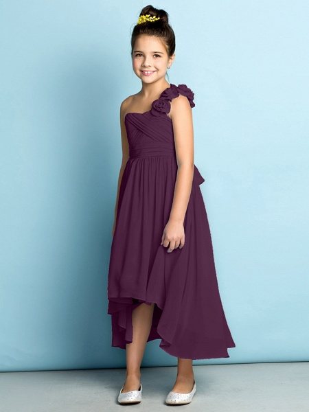 A-Line One Shoulder Asymmetrical Chiffon Junior Bridesmaid Dress With Criss Cross / Flower / Natural / Mini Me_20