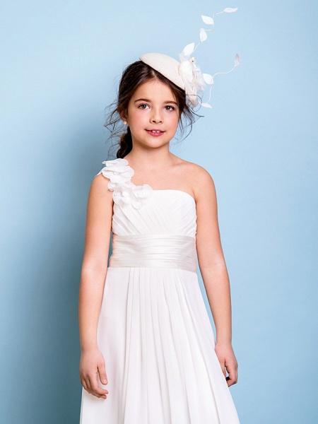 A-Line One Shoulder Floor Length Chiffon Junior Bridesmaid Dress With Sash / Ribbon / Criss Cross / Ruched / Natural_6