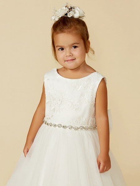 Princess Floor Length Wedding / First Communion Flower Girl Dresses - Lace / Tulle Sleeveless Jewel Neck With Lace / Sash / Ribbon / Bow(S)_7